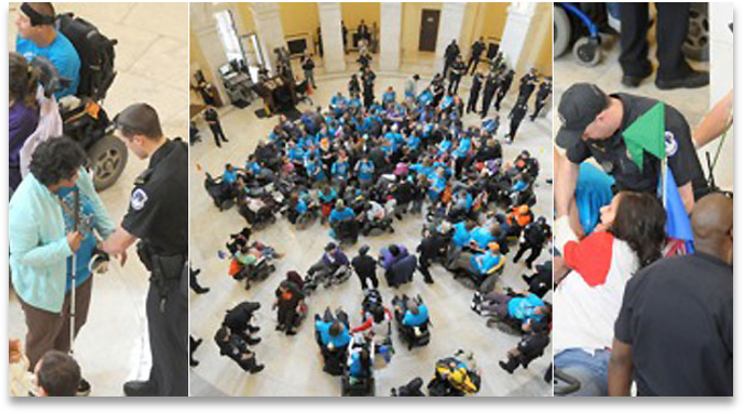A tryptic of pictures; in the center a crowd of persons with disabilities in a rotunda surrounded by police; On the left side a police officer arresting a blind person; on the right police