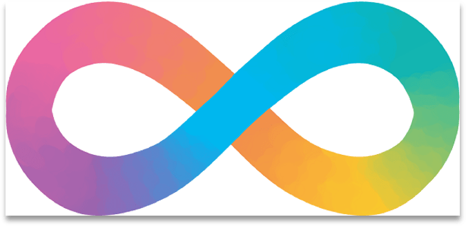 An infinity sign colored like a rainbow