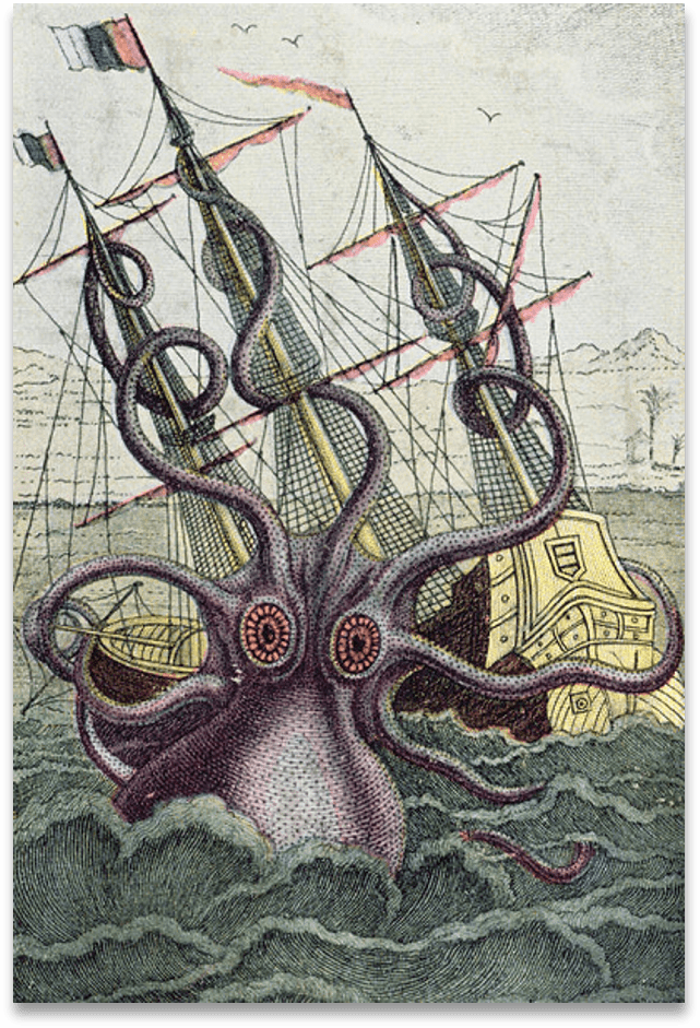 A fictional print of a huge squid attacking a 19th century sailing boat