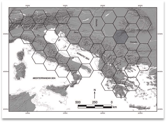 Using spatial heuristics to map hunter-gather search areas in the northern Mediterranean.
