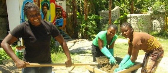 Haitian women repurpose styrofoam trash to build homes. We're documenting their techniques. Photo credit: Ilona Bergers.