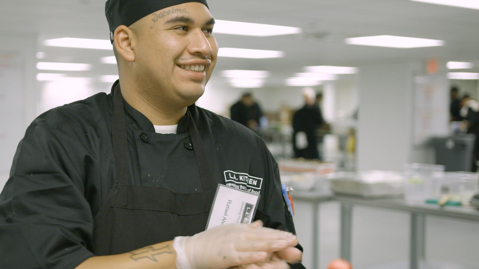 an LA Kitchen student smiling.