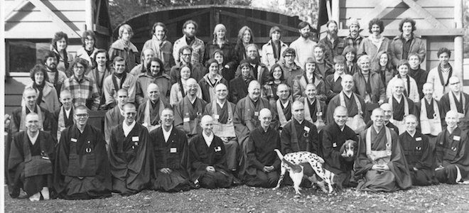 Martin Bayne at the Shasta Abbey Monastery in 1974 (front row 5th from the right)