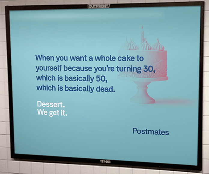 "Modern artwork with the text: ""When you want a whole cake to yourself because you're turning 30, which is basically 50, which is basically dead. Dessert. We Get it."""
