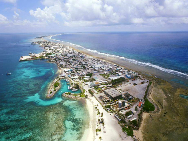 Sky view of Ebeye in the Marshall Islands