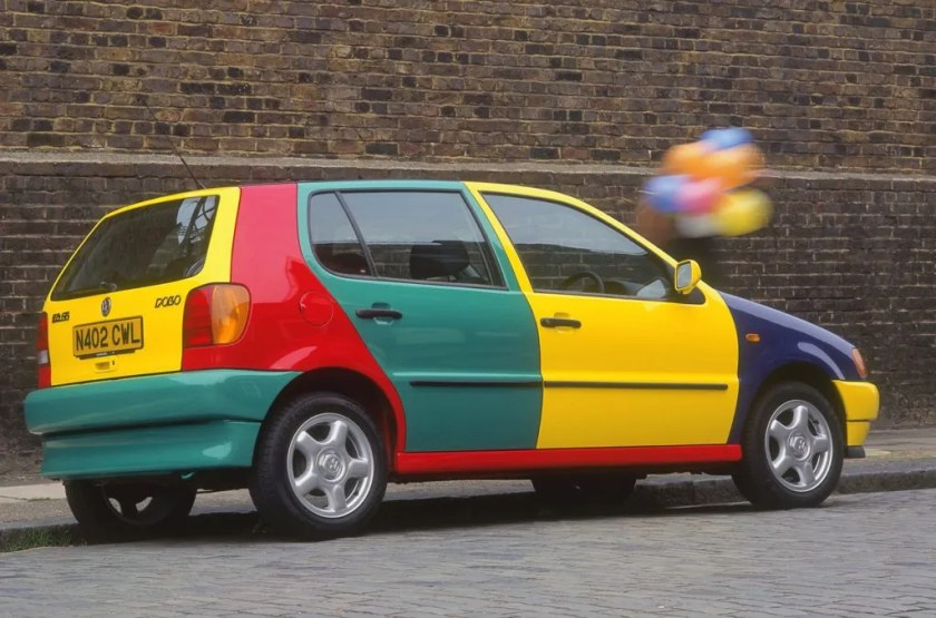 Not even this Volkswagen Polo Harlequin can carry off the odd coloured panel look.