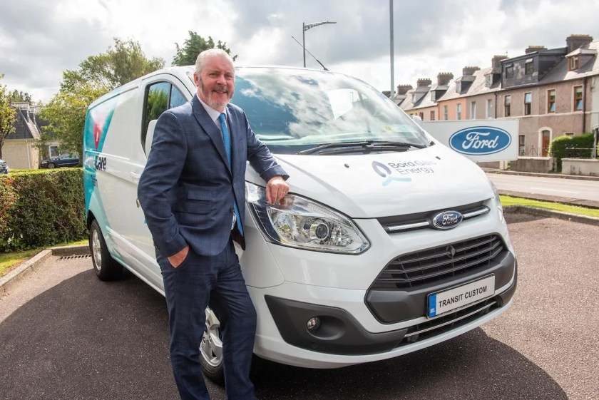 Ciarán McMahon, Chairman and Managing Director of Ford in Ireland, with a Bord Gáis Energy Ford Transit Custom.