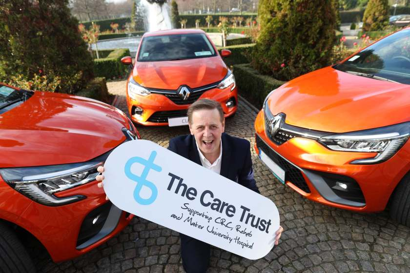 Renault Ambassador and Today FM Breakfast Presenter Ian Dempsey launched the partnership between Renault Ireland and Irish charity The Care Trust (TCT) to supply 36 All-New Renault Clios for its series of fundraising lottery draws in 2020, the first of which takes place on Friday 31st January.