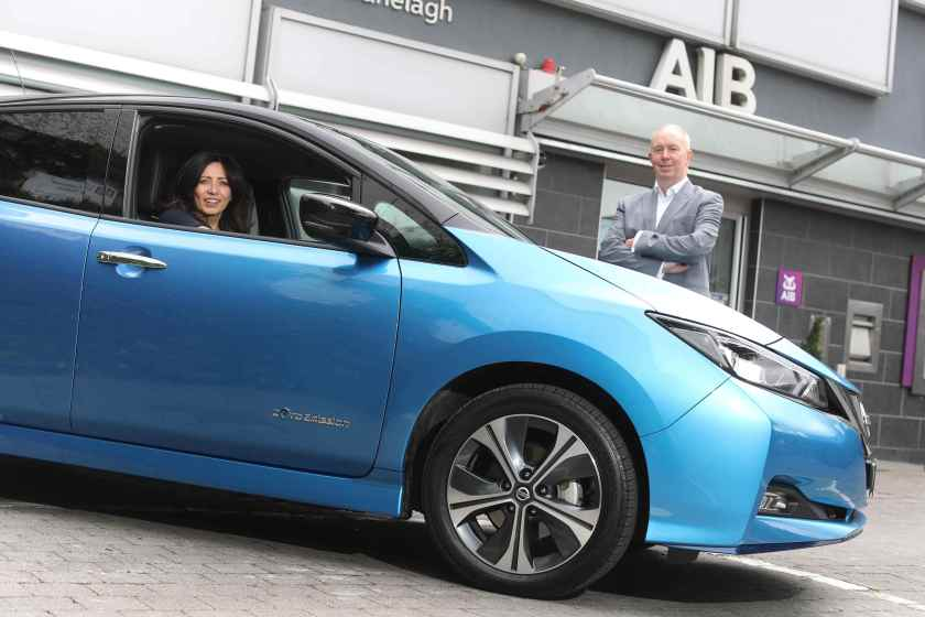 Yvonne Holmes, Chief Sustainability Officer, AIB, and James McCarthy, CEO Nissan Ireland, pictured at the launch of the 'Power of Zero' initiative