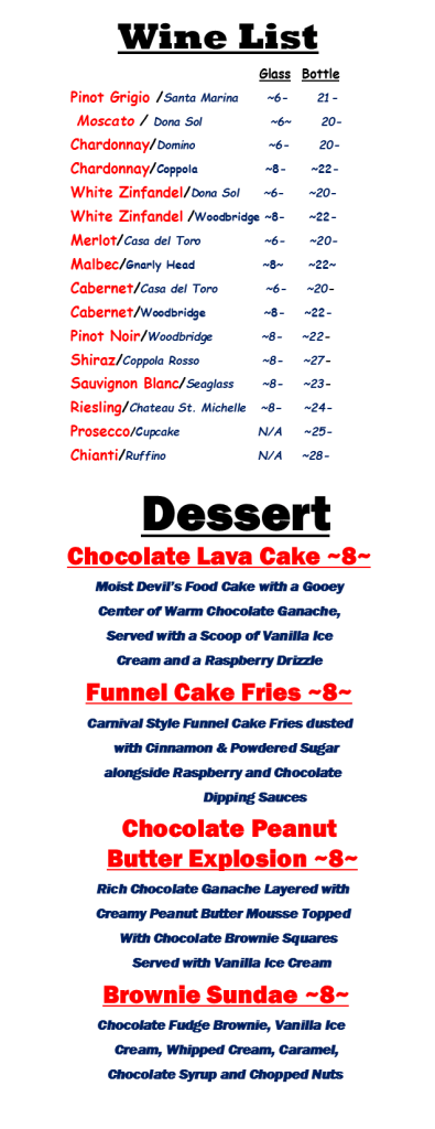 East Northport Changing Times Wine and Desert Menu