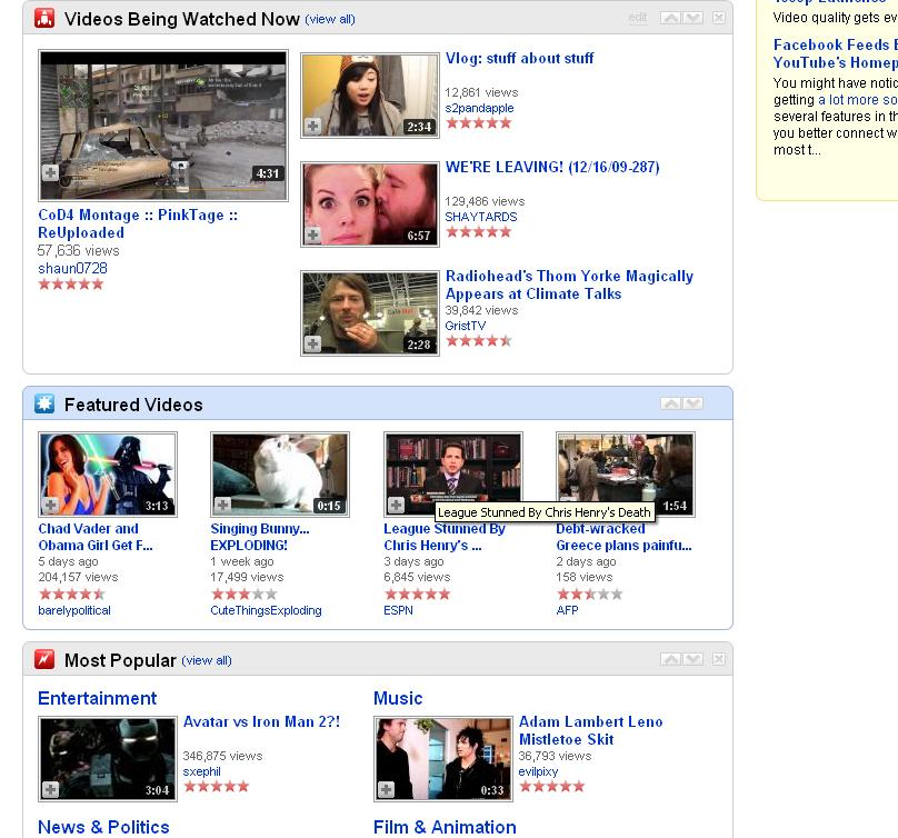 Youtube's home page