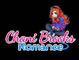 Logo de Chani Brooks Romance - une fille joue à un jeu assise en tailleurs. Elle a de magnifiques cheveux auburn détachés qui tombent en cascade dans son dos. Bref, une bien jolie geek
