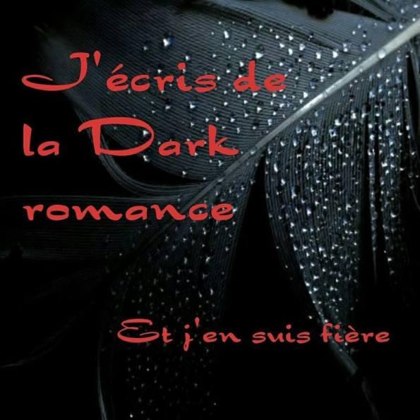 """sur fond de plume obscure un texte en rouge sang, """"j'écris de la dark romance et j'en suis fière"""""""