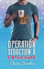 couverture avec un gars qui tient une tasse avec le kanji de livre, un tatouage avec écrit otaku en katakana sur le biceps et un chat de manga sur le tee-shirt moulant