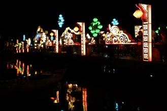 Bridge llt up with lanterns