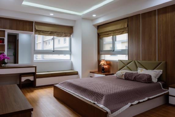 Một mẫu thiết kế phòng ngủ ấn tượng bên trong căn hộ.