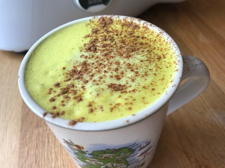 Tumeric Chai Latte in an Irish Beleek China mug