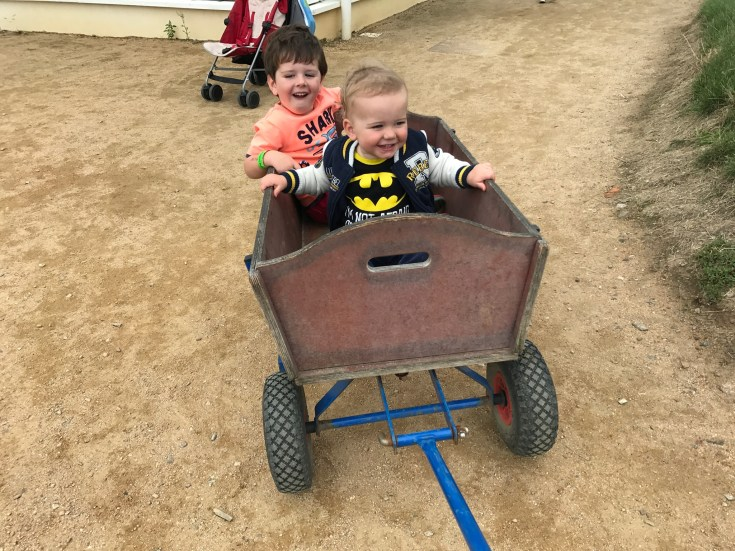 JJ and Fintan in a pull along cart at the aMaizin Maze adventure park in St Ouen Jersey