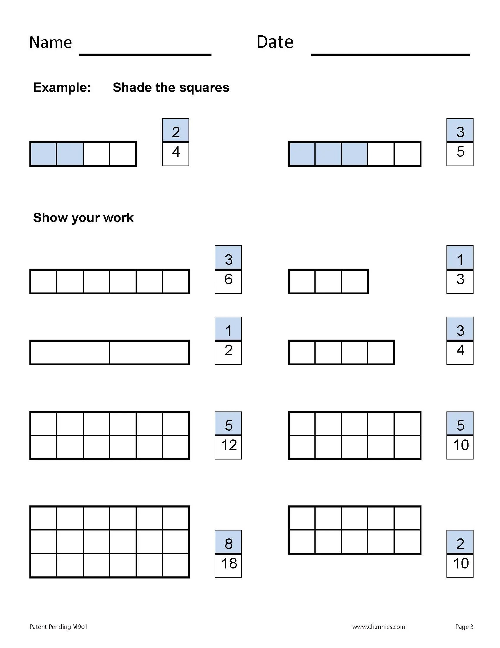 Beginning Fractions Practice Pages
