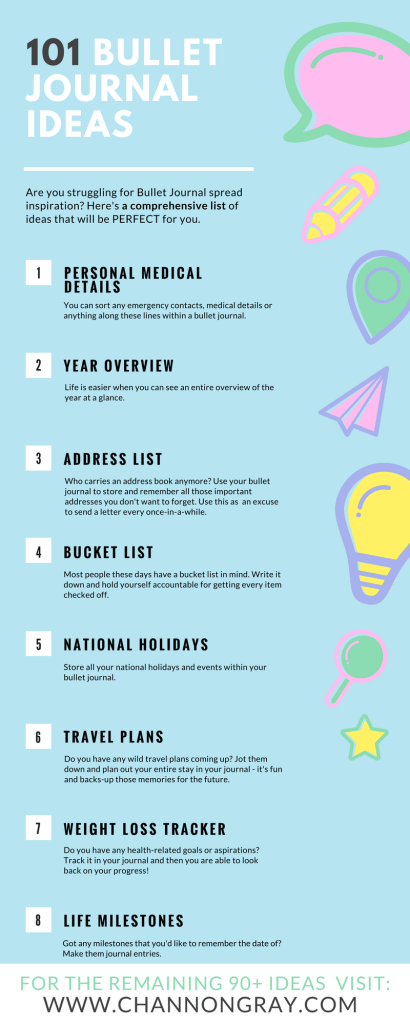 101 Bullet Journal Ideas and Prompts - Are you struggling for bullet journal ideas for spreads, pages and layouts? Well look no further, I have a list of 101 bullet journal ideas that will keep you busy, creative and organised at all once // heythereChannon - www.channongray.com #productivty #organisation #bujo #bulletjournal