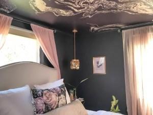 moody bedroom, master bedroom, black bedroom, wallpaper, fifth wall, wallpapered ceiling, dmv interior designer, dc designer, Maryland designer, northern Virginia designer, bowie maryland, washington dc, one room challenge