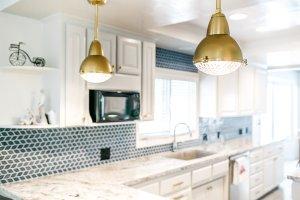 very blue kitchen, Kitchen, Dining Room, remodel, painted ceiling, dmv interior designer, bowie maryland, washington dc, brass pendants