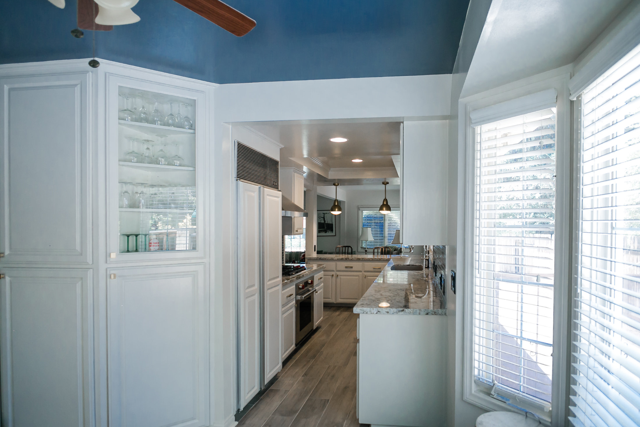very blue kitchen, Kitchen, Dining Room, remodel, painted ceiling, dmv interior designer, bowie maryland, washington dc