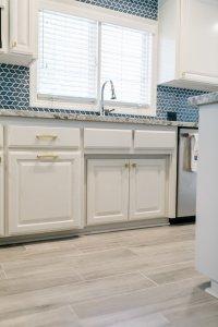 very blue kitchen, Kitchen, Dining Room, remodel, painted ceiling, dmv interior designer, bowie maryland, washington dc, floors, tile
