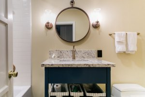 Earthy Bathroom, Bathroom Remodel, remodel, dmv interior designer, bowie maryland, washington dc, Blue vanity