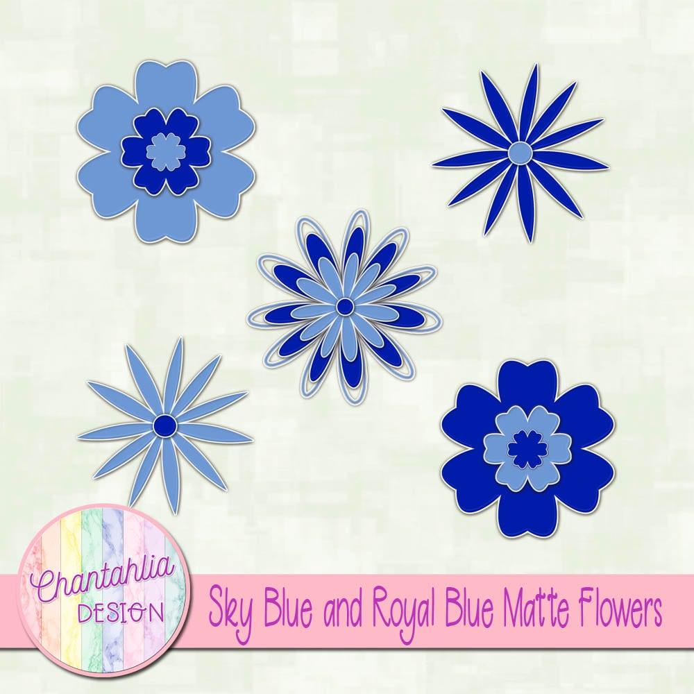 Sky Blue And Royal Blue Matte Flowers Chantahlia Design