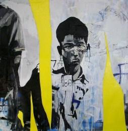 """Boy #186, 2010 5'X5"""" mixed media on canvas"""