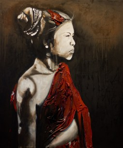 """Sao Lao 1, 2012 72""""x62"""" Oil & spray paint with attached fibers on canvas"""