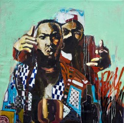 """Only Built For Cuban Linx, 2013 47"""" x 48"""" Mixed Media on Canvas (sold)"""