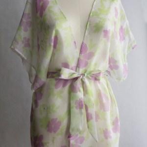 Tropical Floral Silk Kimono $120