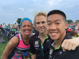 Ginny, Tim and I in transition, all '14 Kona finishers