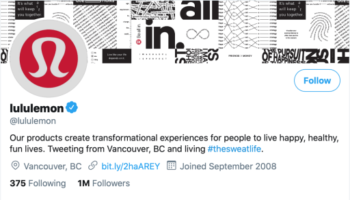Lululemon's twitter bio to demonstrate how businesses match their brand's voice to their audience's voice.