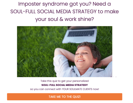 Landing page of Josette LeBlanc's Imposter Syndrome Got You? lead-generating quiz.