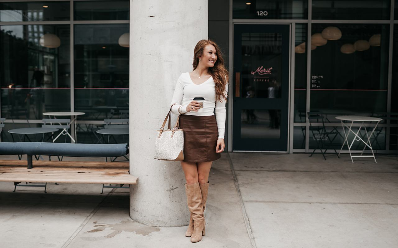 Styling a Leather Brown Skirt for Fall | Chaos and Coffee