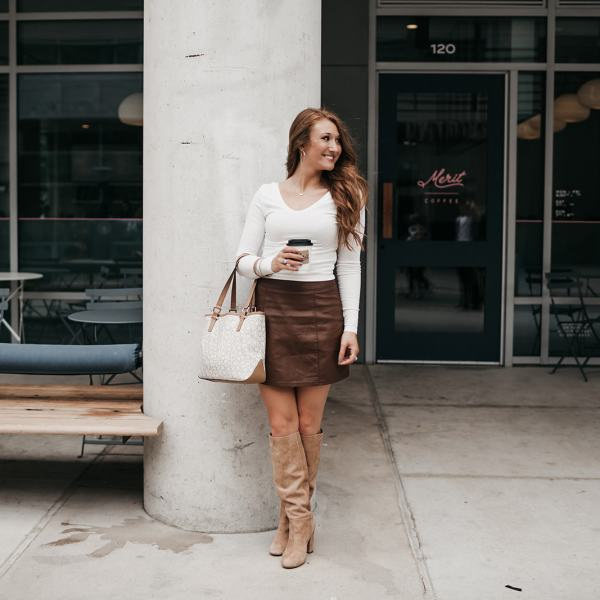 Styling a Brown Leather Skirt for Fall