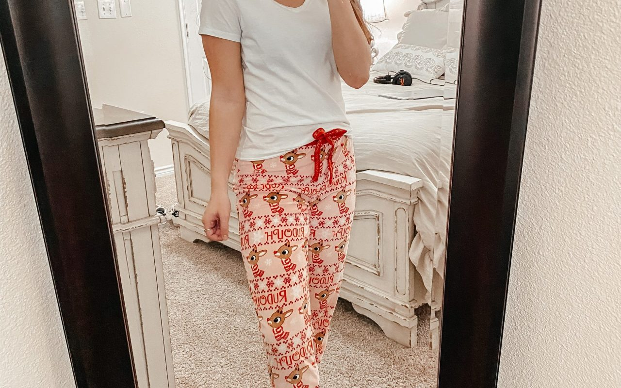 Cozy Loungewear for the Holiday Season - Women's holiday pajama pants with rudolph the red nosed reindeer on them!