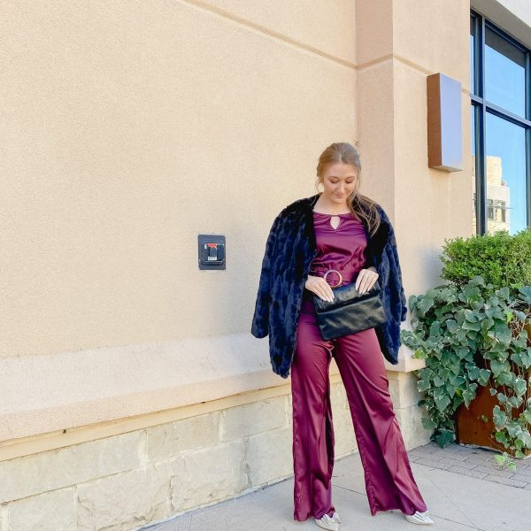 Styling a Satin Jumpsuit for the Holidays