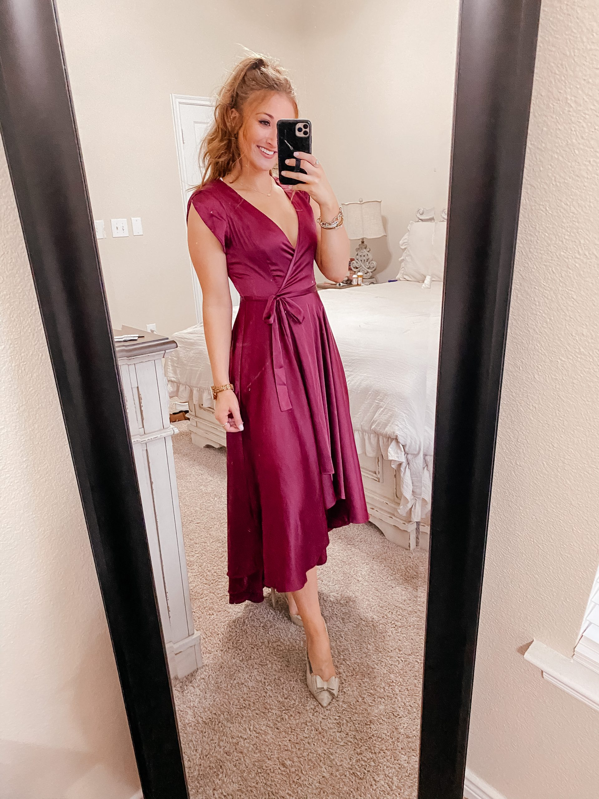 Maroon Wrap Dress from Nordstrom for Valentine's Day