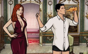 archer holding up finger to hot redhead