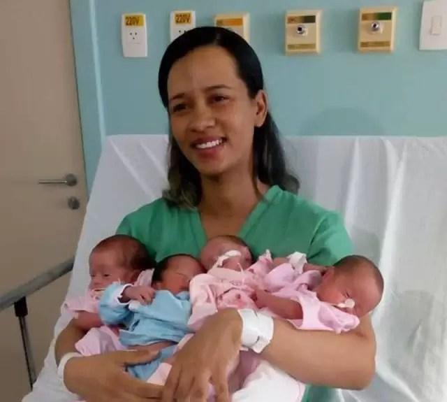 Dona de casa de Riachão dá à luz quadrigêmeos
