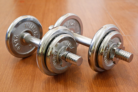 Chromed fitness exercise equipment dumbbell weight