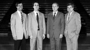 1982 UNC coaching staff. From left to right: Roy Williams, Roy Williams, Eddie Fogler, Bill Guthridge and Dean Smith.