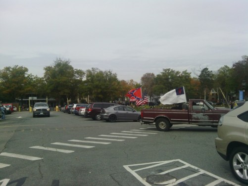 Pro-Confederate demonstrators arrive from Graham.