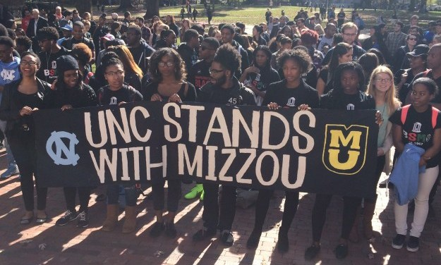 UNC Students Stand with Peers at Missouri