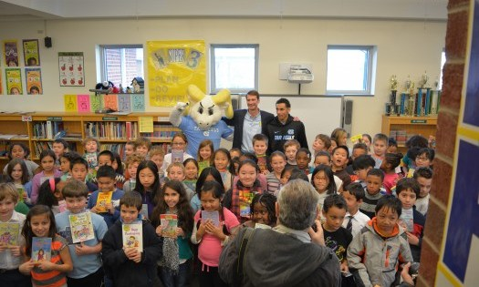Marcus Paige Reads to Third Graders at Rashkis Elementary School