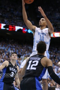 Brice Johnson had 29 points and 19 rebounds for UNC, but only two of those points came in the final 13 minutes. (Todd Melet)